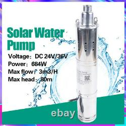 IP6 684W Solar Deep Well Water Pump Submersible Stainless Steel Pump 80m 3m³/h