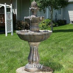 Large Outdoor Water Fountain Solar Fiberglass 3-Tier Backyard Garden Pump New