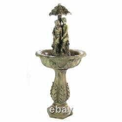 Large Resin Solar Fountain With LED Light Outdoor Decor Yard Water Sculpture