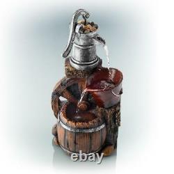 Old Fashion Pump Barrel Water Fountain Tranquil Garden Pump Spout Buck Barrels