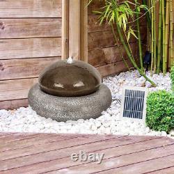 Outdoor Water Fountain Stone Rock Resin Gray Solar Pump LED Lights Garden Modern