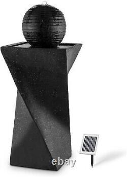 Outdoor Water Fountain Waterfall Black Pedestal Birdbath Solar LED Lights Modern