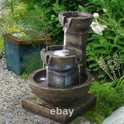 Outdoor Waterfall Fountain 3-Tier Water Fountain LED Light Garden Patio Pump New
