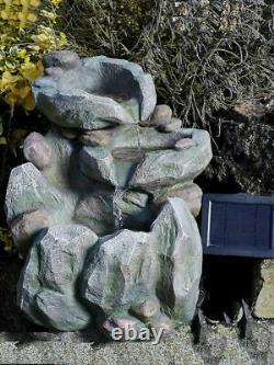 Rock Fall Fountain Garden & Patio Water Feature Solar Powered
