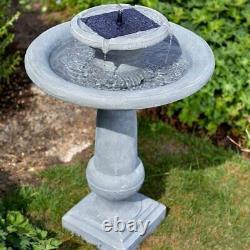 Solar Garden Cascading Fountain Double Drop Water Bird Bath Outdoor Stone Decor