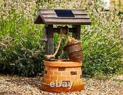 Solar Garden Outdoor Wishing Well Water Barrel Fountain Bird Bath Feature Decor