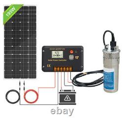 Solar Panel+12V Deep Well Steel Submersible Water Pump Kit 16ft Cables Farm/Pond
