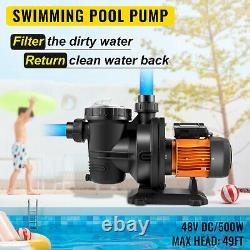 Solar Pool Pump 48V DC 500W Swimming Pool Pump 49FT 75GPM WithMPPT Controlle