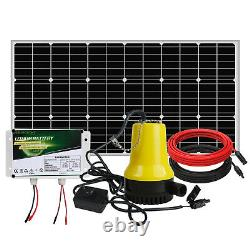 Solar Powered 12V Pond Water Pump Kit with100W Solar Panel Watering Garden Washing