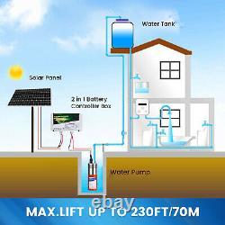 Solar Water Pump+320W Solar Panel Kit+Battery for Deep Well Irrigation Breeding