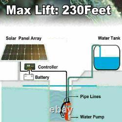 Solar Water Pump Kit -12V DC Submersible Well Water Pump &100W Solar Panel, Farm