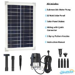 Solariver Solar Water Pump Kit 160+ GPH with 12v Submersible Water Pump and 12 W