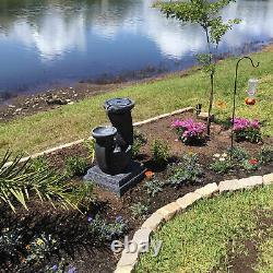 Sunnydaze 28 Modern Cascading Bowls Solar Water Fountain with Battery & LED