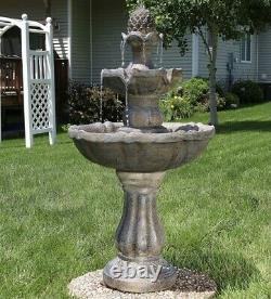 Sunnydaze 2 Tier Pineapple Solar Outdoor Water Fountain with Battery