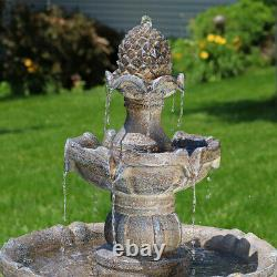 Sunnydaze 2 Tier Pineapple Solar Outdoor Water Fountain with Battery 33 Feature