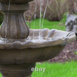 Sunnydaze 2-Tier Pineapple Solar Outdoor Water Fountain with Battery 46 Earth
