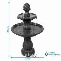 Sunnydaze 2-Tier Solar Outdoor Water Fountain with Battery 35 Black Finish