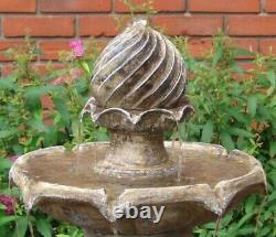 Sunnydaze 2-Tier Solar Outdoor Water Fountain with Battery 35 Earth Finish
