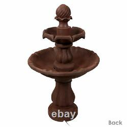 Sunnydaze 2-Tier Solar Outdoor Water Fountain with Battery 35 Rust Finish