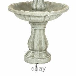 Sunnydaze 2-Tier Solar Outdoor Water Fountain with Battery 35 White Finish