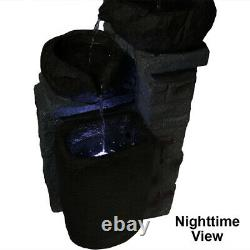 Sunnydaze 30 Cascading Stone Bowls Solar Outdoor Water Fountain with Battery/LED