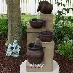 Sunnydaze 30 Cascading Terra Bowls Solar Outdoor Water Fountain with Battery/ LED