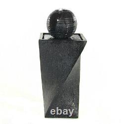 Sunnydaze Black Ball Solar Outdoor Water Fountain with Battery 32 with LED