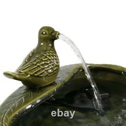 Sunnydaze Green Glazed Dove Solar Outdoor Water Fountain 7 Garden Water Feature