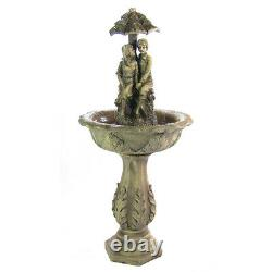 Sunnydaze Lovers Umbrella Solar Outdoor Water Fountain with Battery 43 with LEDs