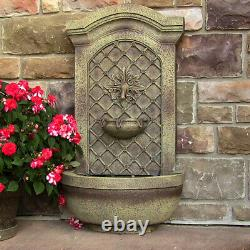 Sunnydaze Rosette Solar-Only Outdoor Wall Water Fountain 31 Florentine Stone