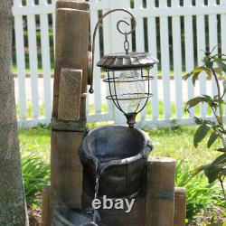 Sunnydaze Rustic Buckets Outdoor Water Fountain 34 Feature with Solar Lantern