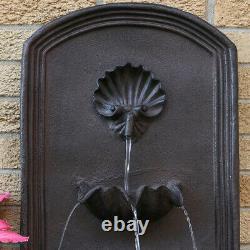 Sunnydaze Seaside Solar-Only Outdoor Wall Water Fountain 27 Iron Finish