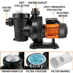 VEVOR Solar Pool Pump 72V DC 900W Swimming Pool Pump 62'/92GPM WithMPPT Controller