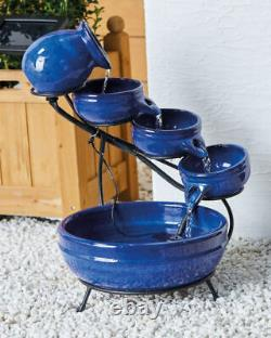 Water Feature Fountain Solar Powered Outdoor Garden Cascade Tiered Patio Bowls