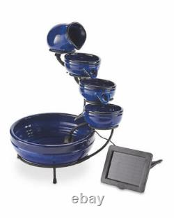 Water Feature Fountain Solar Powered Outdoor Garden Cascade Tiered Patio Bowls! 2